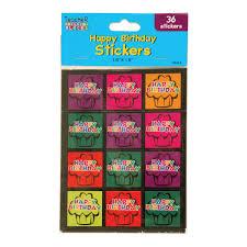 Amazon Com Happy Birthday Stickers 36 Ct 6 Colors