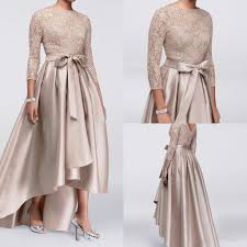 3 4 Long Sleeve Lace Mother Of The Bride Dresses 2019 Hot Selling Bow Sash A Line High Low Satin Formal Party Gowns M010 Mother Of The Groom Plus Size