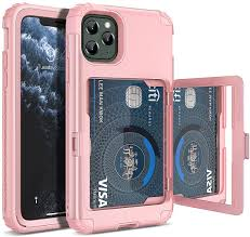 Amazon.com: WeLoveCase iPhone 11 Pro Max Wallet Case, Defender Wallet Card  Holder Cover with Hidden Mirror Three Layer Shockproof Heavy Duty  Protection All-Round Armor Protective Case for iPhone 11 Pro Max Pink