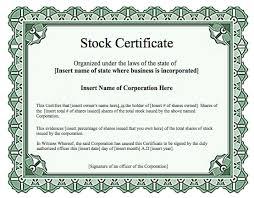 Stock Certificate Template Stock Certificates Templates Condo Financials Com