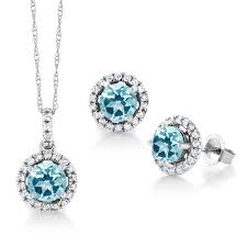 14k white gold pendant earrings diamond set set w blue topaz from swarovski 0