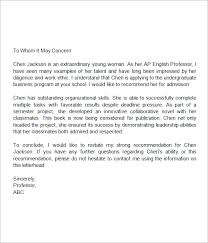 Writing Recommendation Letters For High School Students Sample