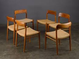 6 møller model 75 dining chairs mid century danish modern teak