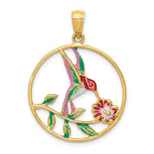 icecarats 14k yellow gold enameled hummingbird flower round frame pendant charm necklace bird gifts for women for her com