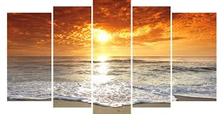 Living Room Oil Paintings Lk564 5 Panels Large Sunset Beach Living Room Canvas Wall Art
