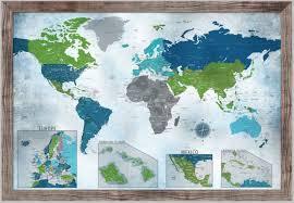 Interior Push Pin Map World Map Push Pin Map Water Color Blues