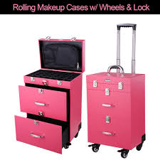 aw pink pvc 14x9x20 4 wheel rolling makeup nail case nail drill cosmetic artist trolley with keys drawers walmart