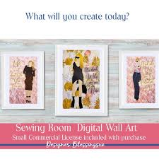 sewing room wall decor digital