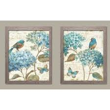 gorgeous teal and cream watercolor style hydrangea florals birds and butterfly 2 piece framed graphic art print set on 2 piece framed wall art with teal and brown wall art wayfair