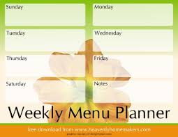 one week menu planner menu planning heavenly homemakers