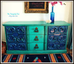 mexican painted furnitureThe Turquoise Iris  Furniture  Art Vintage Dresser in Turquoise
