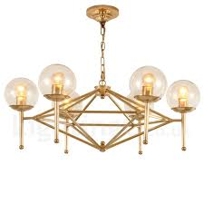 6 light retro rustic luxury brass pendant lamp chandelier with glass shade