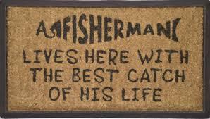 DOOR MAT A FISHERMAN LIVES HERE BEST CATCH NATURAL COIR ON RUBBER ...