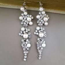 bridal chandelier earrings rhinestone ivory pearl crystal wedding stud accessories dangle long silver jewelry