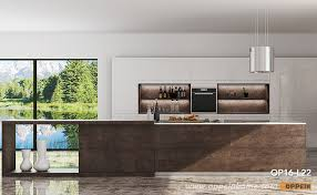 modern noble wooden kitchen cabinet with natural sintered surface op16 l22