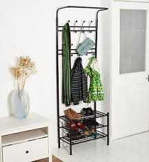 Coat Stand And Shoe Rack Black Metal MultiFunction Clothes Coat Stand Shoes Rack Umbrella 46