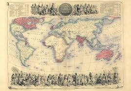 84025 vintage 1850 historical british empire world map