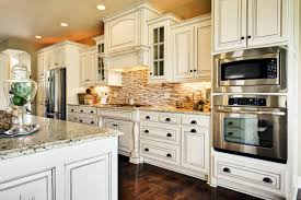 off white kitchen cabinet. Kitchen: Trendy Kitchen Decorating Idea Using Antique White Cabinets Plus Paired With Metal Oven Off Cabinet I