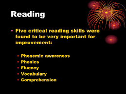 review reading and essay writing reading five critical reading 2 reading five critical reading skills were found to be very important for improvement phonemic awareness phonics fluency vocabulary comprehension