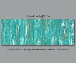 turquoise teal blue abstract painting large wall art home decor shabby chic office decor brown and blue artwork bedroom wall decor chic mint teal office