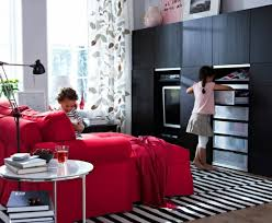 exquisite design black white red. bright red sofa furniture living room design decorative curtain black white stripes carpet exquisite e