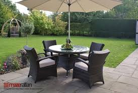 texas rattan round 4 seater dining set