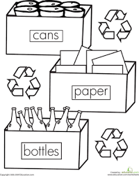Small Picture Color the Recycling Worksheet Educationcom