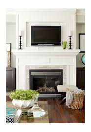 white trim framing the fireplace and framing the spot above for a tv for a floor to ceiling effect does not having the hearth look unbalanced or as if