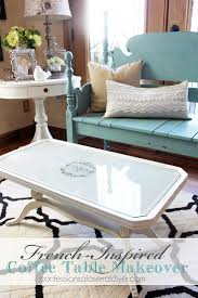 french inspired coffee table makeover with fabric and lesley riley s tap paper