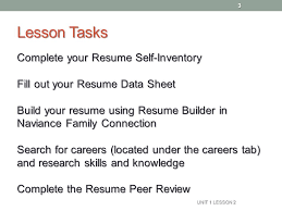 Lesson Tasks Complete your Resume Self-Inventory