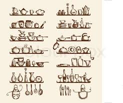 Kitchen utensils on shelves sketch drawing for your design Stock