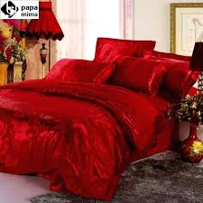 whole luxurious red bedding set wedding satin duvet quilt cover king queen size comforters bedlinen bedsheets