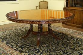 luxurious 70 inch burly walnut round dining table on wide birdcage pedestal optional lazy susan