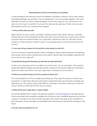 Good Questions To Ask The Interviewer Good Questions To Ask In An Interview As An Employer