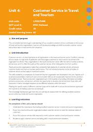 Unit 4 Customer Service In Travel And Tourism Edexcel