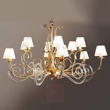 corinto gold plated chandelier with murano glass 6532078 01