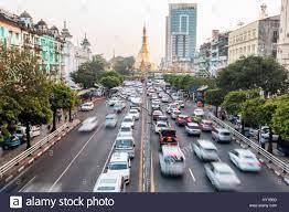 Yangon City Traffic, Myanmar Stock Photo - Alamy
