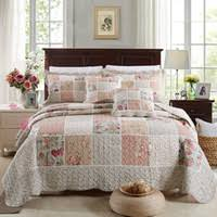Floral Quilted Bedspreads Australia | New Featured Floral Quilted ... & CHAUSUB Cotton Patchwork Quilt Set 3pcs 4pcs Korean Floral Bedspread Bed  Cover Quilted Bedding Set Duvet Cover Pillowcase Quilts Adamdwight.com