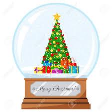 Snow Globe Design Vector Flat Cartoon Style Christmas And New Year Design Crystal