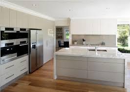 Modern White Kitchen Wood Floor