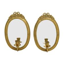 vintage gold frame wall mirrors with candle holder decor