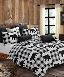 white buffalo plaid bear quilt set