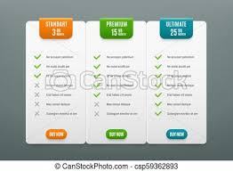 Price Plans Comparison Infographic Tab With 3 Columns Web Table With Product Prices Vector Infographics Template