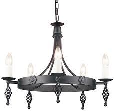 belfry black finish gothic cartwheel 5 arm chandelier uk made