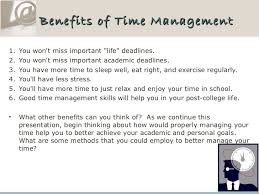 time management for students  4 benefits of time management