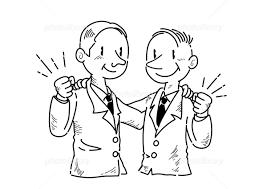 ガッツポーズするビジネスマン 手書き線画 イラスト素材 5862787