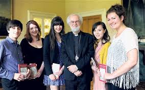 faith in world essay competition winners telegraph bright future the archbishop faith in the world winners from left to right