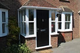 porch uk black door white windows