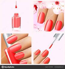 夏春ネイル デザインのカラフルな赤のコレクションですベクトル 3 D