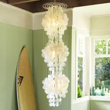 jellyfish capiz shell chandeliers with chrome holder for dining room lighting ideas